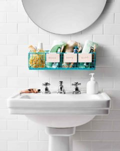 The Rim The Pedestal Sink Of A Counterless Bathroom Is Always The Best  Place To Start Your Bathroom Organization. You Can Design A Hanging Wire  Crate.
